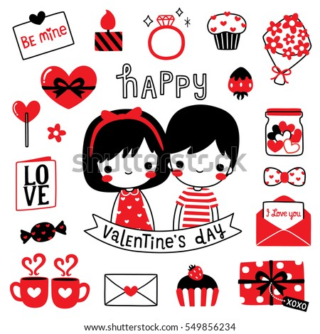 Happy Valentines Day Card Cute Girl Vector 549856234 – Boy Valentines Day Cards