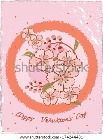 Happy Valentine's day card with grunge texture