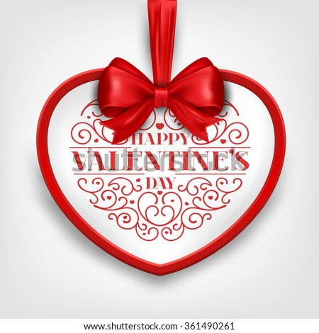 Happy Valentine's  Day Card With Heart - stock vector