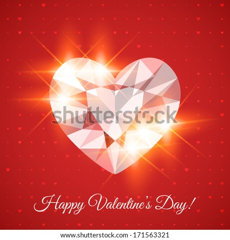 Happy Valentine's Day Card with heart-shaped diamond