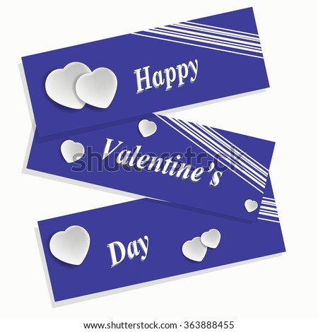 Happy Valentine's Day card with ornaments, hearts.