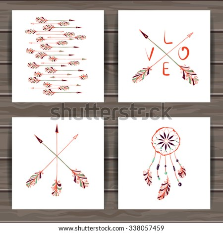 Happy Valentine's day cards with hand drawn Indian-American dream catcher and arrows. Wood plank vector background is in the separate layer. - stock vector