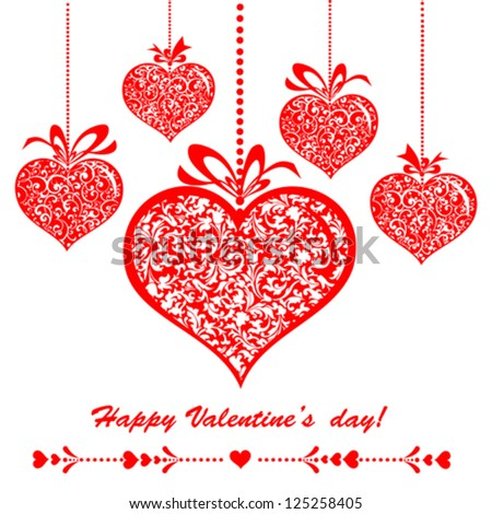Happy Valentine's day! Celebration background with hearts and place for your text. Vector Illustration - stock vector