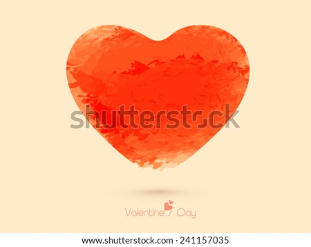 Happy Valentine's Day celebration greeting card with orange grungy heart. - stock vector