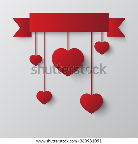 Happy Valentine's Day celebration with hanging hearts