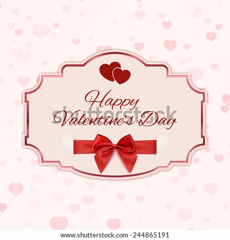 Happy Valentine's day classic banner with red ribbon and a bow. Vector illustration - stock vector