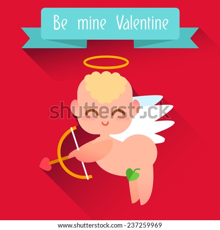Happy Valentine's Day. Cute angel style flat. Flat illustration - stock vector