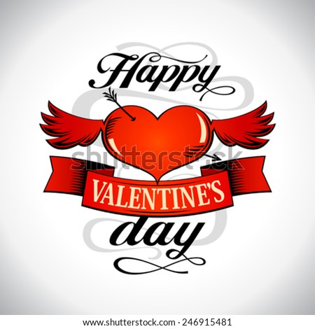 Happy Valentine`s day design with winged heart. - stock vector