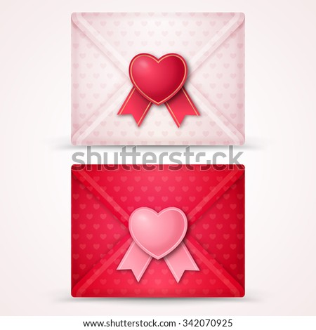 Happy Valentine's Day Envelope. Vector Illustration. Close White and Pink Envelopes with Heart Shape Seal and Ribbon. Gentle Hearts Patterned Paper. Can be used for Mother's and Women's Day Greetings - stock vector