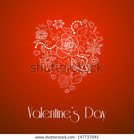 Happy Valentine's Day, floral doodle heart, made of different flowers, leaves and ladybug, on red background, vintage style, vector illustration