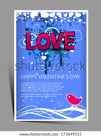 Happy Valentine's Day Flyer ,Vector illustration - stock vector