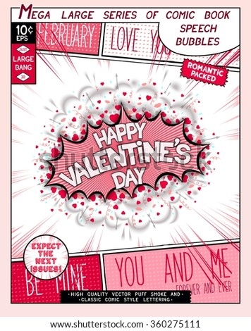 Happy Valentine's day. Fun explosion in comic style with lettering, hearts, lips, arrows and realistic puffs smoke. 3D vector pop art speech bubble  - stock vector