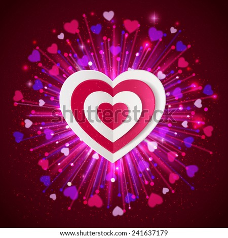 Happy Valentine's day  glow holiday background with shining soft hearts, blurred bokeh lights, paper hearts, and  place for text. - stock vector