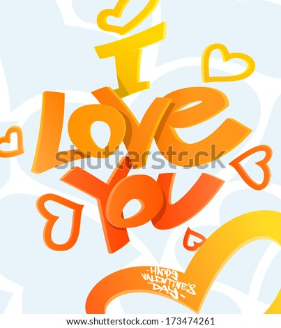 happy valentine's day graffiti greeting card  - stock vector