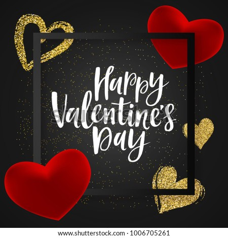 Happy valentines day greeting banner handwritten stock vector happy valentines day greeting banner with handwritten lettering glossy red and gold glitter hearts m4hsunfo Images