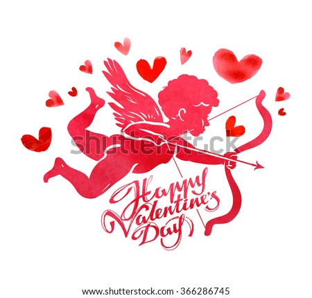 Happy Valentine's day. Greeting card. Angel, Cupid and hearts on a white background. Vector illustration - stock vector