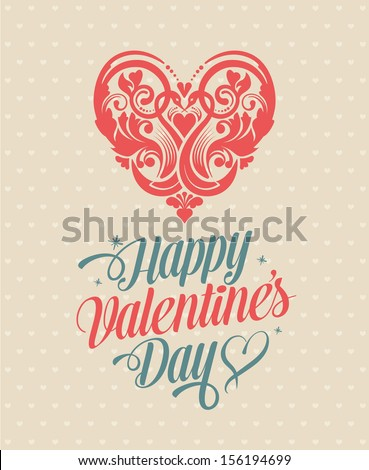 Happy Valentine's Day Greeting Card. Calligraphic Design Elements. Abstract Floral Vector Heart Illustration. Symbol of Love. - stock vector