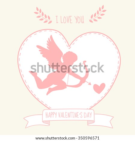 Happy valentine's day greeting card. Cupidon is aiming in the heart. Message I love you. Confession in love - stock vector
