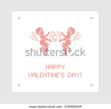 Happy Valentine's day! Greeting card. Cute Cupids. Cupid angels. Embroidery. Vector illustration. - stock vector