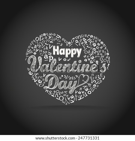 Happy valentine`s day greeting card. Design elements - stock vector