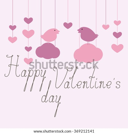 Happy Valentine's Day Greeting Card with hanging hearts, birds on clouds and calligraphic lettering happy valentine's day - stock vector