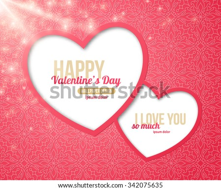 Happy Valentine's Day Greeting Card with Two Hearts Frame. Vector Illustration.  Template for your Text Message. Shiny Holiday Brochure Corporate Greeting Cards Design. Lights and Sparkles. Sunrays - stock vector