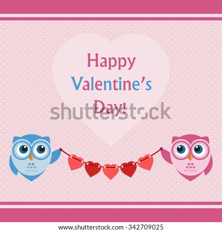Happy Valentine's Day Greeting Card with two Owls - stock vector