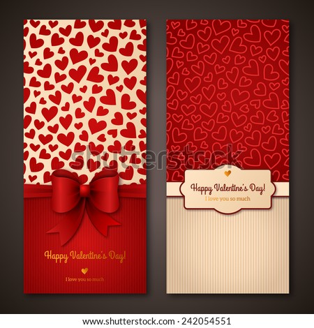 Happy Valentine's Day greeting cards. Vector illustration. Place for your text message. Design in classic colors. Holiday brochure design for corporate greeting cards. - stock vector