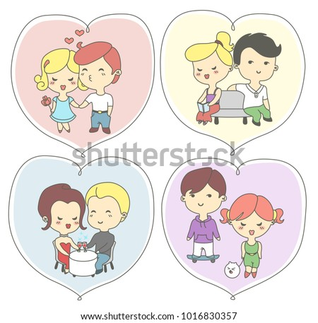 Happy day greeting cards lovers couples stock vector 1016830357 happy valentines day greeting cards with lovers the couples holding hands kissing meeting m4hsunfo