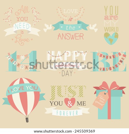 Happy Valentine's Day Hand Lettering Elements And Illustrations Set. Retro elements for Valentine vintage labels, logo. All for love design - stock vector