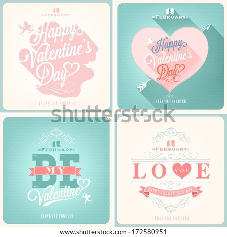 Happy Valentine's Day Hand Lettering - Typographical Background Set  with ornaments, hearts, ribbon, angel and arrows