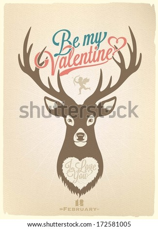 Happy Valentine's Day Hand Lettering - Typographical Background With Deer  - stock vector