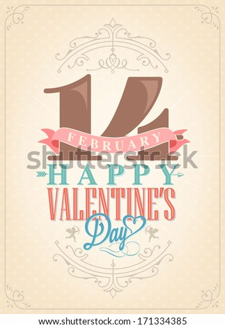Happy Valentine's Day Hand Lettering - Typographical Background with ornaments, hearts, ribbon, angel and arrow
