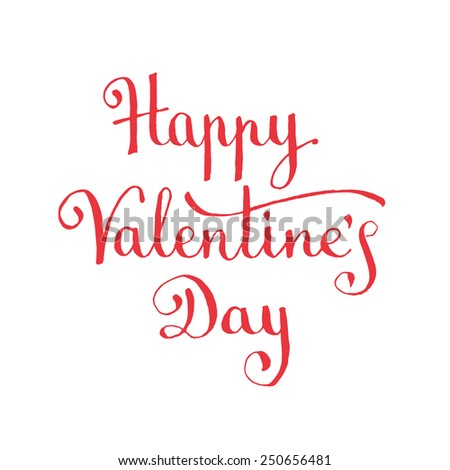 Happy Valentine's Day hand lettering. Vector illustration - stock vector