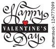 HAPPY VALENTINE'S DAY handmade calligraphy - stock vector