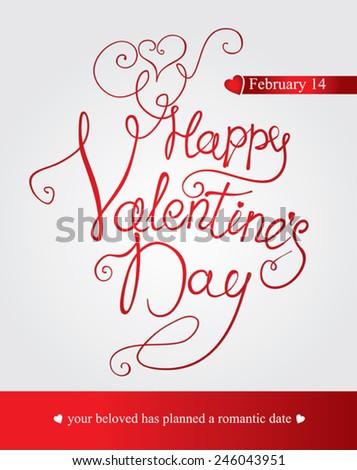 Happy Valentine's Day - handmade calligraphy. Vector illustration. - stock vector