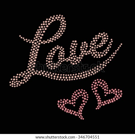 Happy Valentine's Day/Handmade sequin calligraphy/Love Happy Valentines day card/Font Type/Love vector/Love print/Love pattern/Love illustration/Love Sticker/graphics for textiles/typography design - stock vector