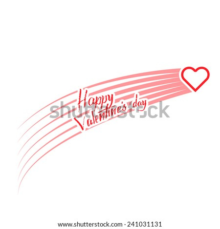 happy valentine's day, heart in motion on a white background - stock vector