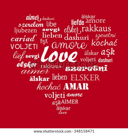 Happy Valentine's Day heart vector with calligraphic words Love in different languages for all the world - stock vector