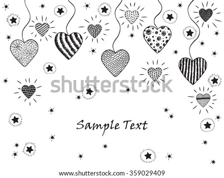 Happy Valentine's day. Hearts and stars. Hand drawn doodle hearts and stars. Holiday card template with glittering hearts, stars - vector illustration - stock vector