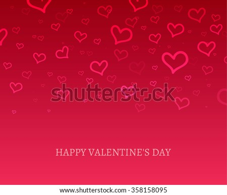 Happy Valentine's Day hearts boke blurred on a red pink background sale card. Vector illustration EPS 10