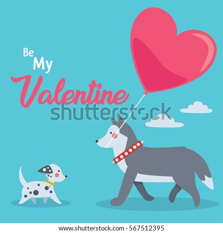 Happy Valentine's Day. Husky Dog brings shaped balloon love for dalmatian dog
