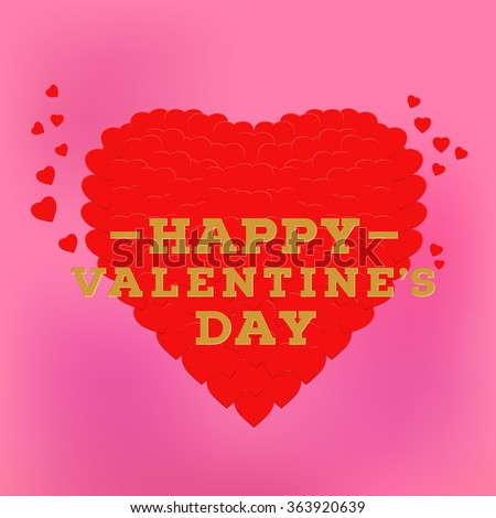 Happy Valentine's day inscription on a pink background. Celebration greeting card design template decorated with heart made of small heart shapes . 14 February. Vector Blurred Soft Background. - stock vector