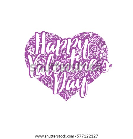 happy valentines day lettering greeting card stock vector 577122127