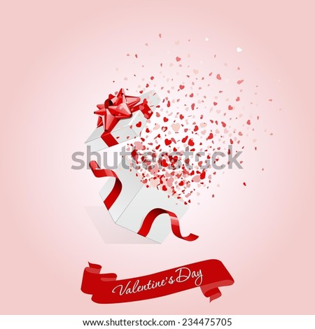 Happy Valentine's day open heart gift and flow hearts vector - stock vector