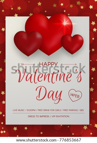 Happy Valentines Day Party Flyer Beautiful Stock Vector 776853667