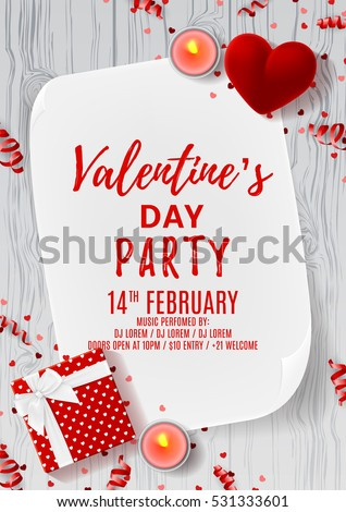 Happy Valentine's Day party flyer. Top view on gift box and red case for ring. Beautiful backdrop with greeting card and candles on wooden texture. Vector illustration. Invitation to nightclub.