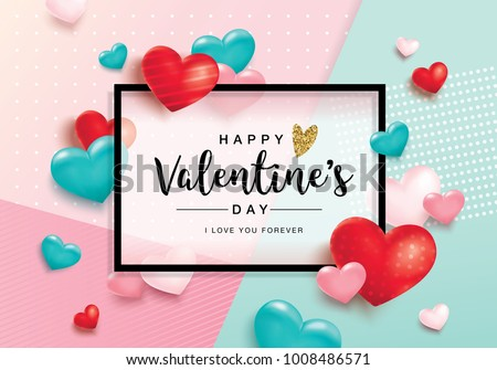Happy Valentine's Day poster with hearts
