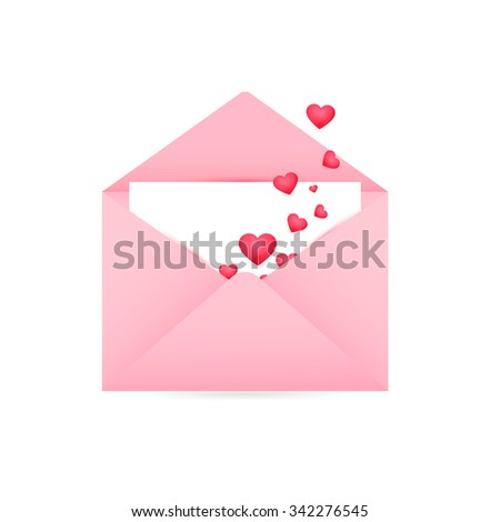 Happy Valentine's Day, Realistic Mail Envelope - stock vector