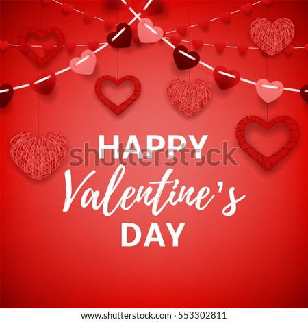 Happy Valentine's Day red card. Romantic composition with garlands from paper. Beautiful backdrop with heart from threads. Vector illustration.